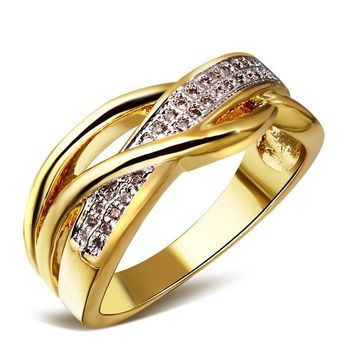 2 tone plating wedding ring fine jewelry fashion rings for women Cubic Zirconia 18k gold & Platinum Plated Top quality