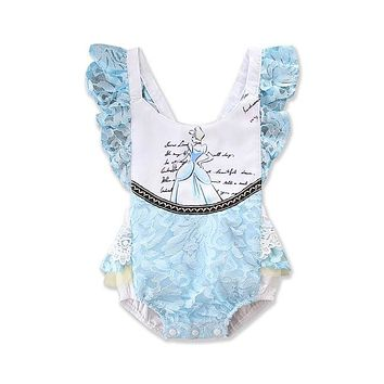 Baby Girl Cinderella Belle Lace Romper Outfits for Summer