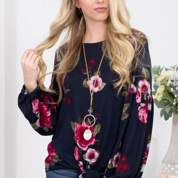 Blooming Floral Navy Knot Top
