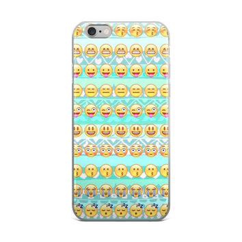 Wink Tongue Out Zzz Crying Laughing Blowing Kisses Smiley Face Emoji Collage Teen Cute Girly Girls Sky Blue iPhone 4 4s 5 5s 5C 6 6s 6 Plus 6s Plus 7 & 7 Plus Case