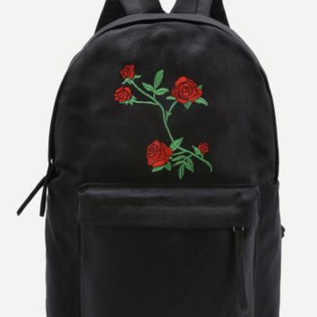 Red Rose Embroidered Canvas Backpack- Black
