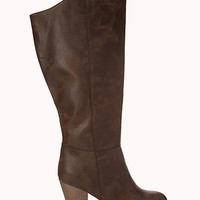 Wide Calf Faux Leather Boots