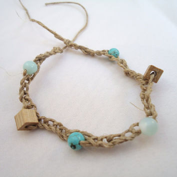 hemp bracelet beaded  crotchet  with turquoise wood and by BeaKez