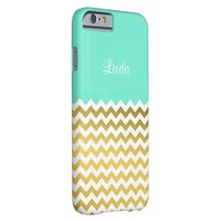 Custom Name On Mint Green 2, Gold & White Chevron Barely There iPhone 6 Case