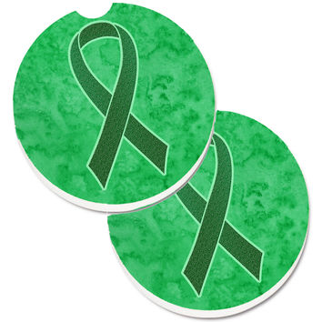 Kelly Green Ribbon for Kidney Cancer Awareness Set of 2 Cup Holder Car Coasters AN1220CARC