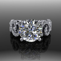 Forever Brilliant Moissanite and Diamond Engagement Ring 3.25 CTW