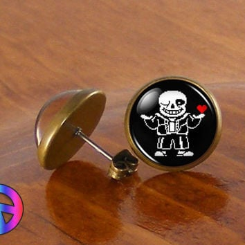 Undertale Sans 2 Game Gamer Gaming Fashion Stud Studs Earrings Jewelry Art Gift