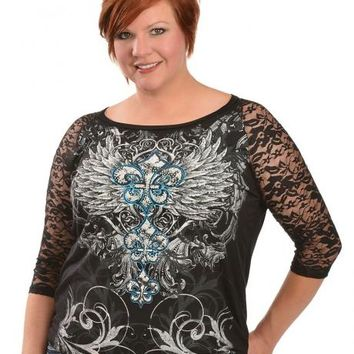 Red Ranch Feather & Fleur-de-lis Print Lace Sleeve Top - Plus - Sheplers