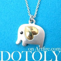 Elephant Animal Pendant Necklace in Silver with Heart Shaped Ears