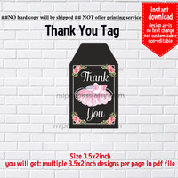 Instant Download, #686 Tutu party tag, little girl Party, tutu baby shower, Thank you TAG, 3.5x2inch printable non-editable NOT CUSTOMIZABLE