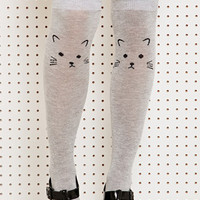 Cat Face Knee High Socks at Urban Outfitters