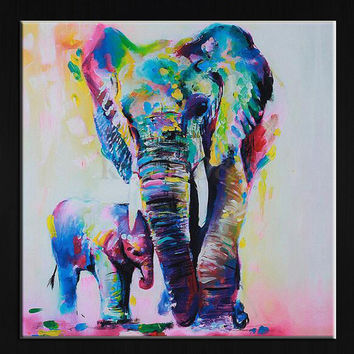 60cm Watercolor Elephant Inkjet Frameless Canvas Art Paintings Oil Colorful Mode