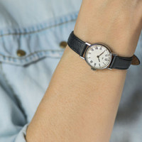 Simple lady's watch, roman numerals women's wrist watch Ray, small watch, black white watch her, genuine leather strap new