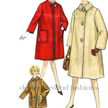 1960s Classic Jackie-O Style Women's Coat- 2 Lengths, With/Without Collar, Curvy Plus Size 42/Bust 44 Vintage Simplicity 4637 Sewing pattern
