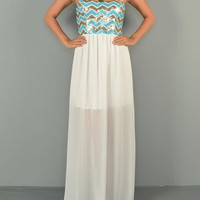 Chevron Sequins Maxi Dress - Ivory