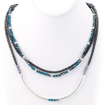 Braided Leather and Beaded Layered Necklace Blue