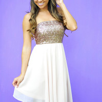 Minuet: Sparkle And Shine Dress: Bronze | Hope's