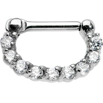 """14 Gauge 1/4"""" Surgical Steel Clear CZ Septum Clicker 