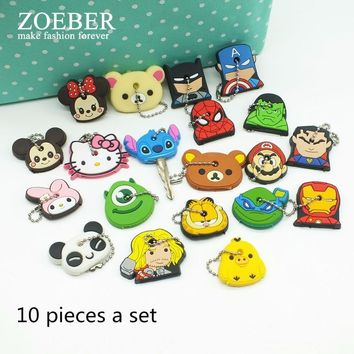 Super Mario party nes switch ZOEBER 10 PCS a SET  animal keychain cartoon key chain Anime  Garfield keycover super her key caps Children Car Keychain AT_80_8
