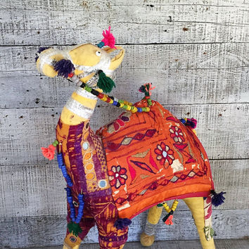 "Rajasthan Camel Colorful Large Camel 22"" Stuffed Rajasthan Figurine Handmade Stuffed Camel India Folk Art Camel Figurine Embroidery Mirrored"