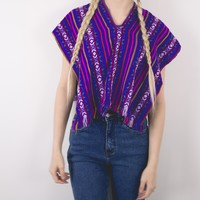 Vintage Mexican Tribal Crop Top Blouse
