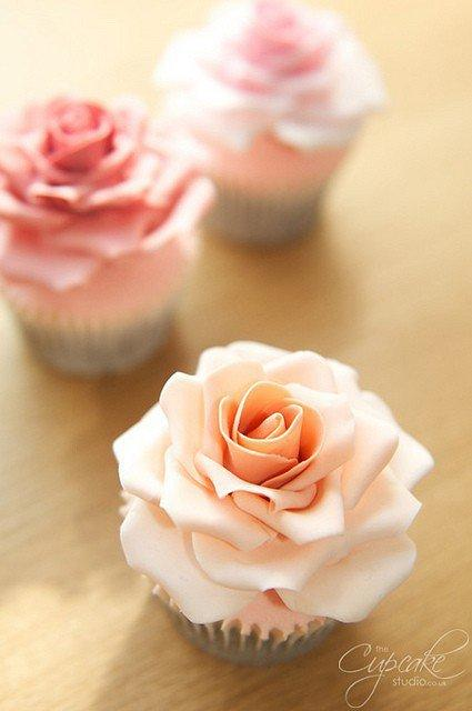 Paris Party / Full Size Rose Cupcakes | Flickr - Photo Sharing!