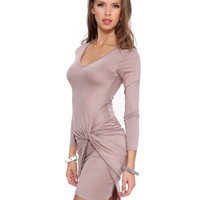 Long Sleeve Asymmetrical Wrap Bodycon Mini Dress