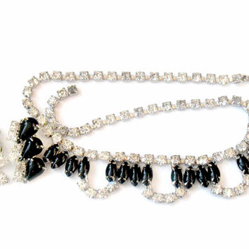 Weiss Style Black Clear Rhinestone Set Necklace Earrings 1950s Collectable Jewelry Possible Unsigned Weiss Vintage Jewelry Wedding Bridal