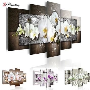 White Flower Orchids Painting Modern Canvas Art Poster 5 Pieces Module Painting Wall Art Picture Print Living Room Home Decor