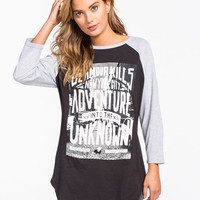 Glamour Kills The Adventure Womens Baseball Tee Black  In Sizes