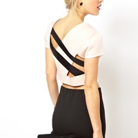 ASOS Short Sleeve Top in Scuba with Strappy Back
