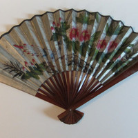 Gorgeous Shimmering Silver Bird and Floral Ladies Hand Fan - Large and Hand Painted Vintage Chinese