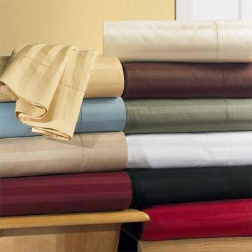 Unattached 600 Thread Count Striped Waterbed Sheet Set 100% Combed cotton