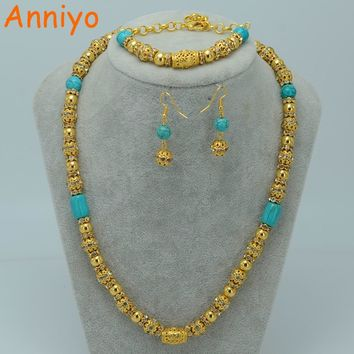 Anniyo Allah Necklace set Jewelry Gold Color & Blue Ston of Arabic Jewelry Islam Muslin Middle East Earrings Bracelet #049406