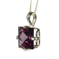 Alexandrite Necklace, Sterling Silver Chain, Pendant Necklace, Princess Cut Sones