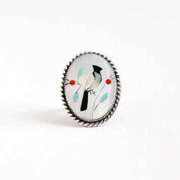 Vintage Sterling Silver Bird Inlay Ring - Size 7 Retro Native American Zuni Style Mother of Pearl, Coral, Turquoise Onyx Jewelry