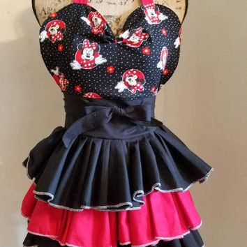 Minnie  - mouse  -disney -  sweetheart  - ruffle - polka - dot  - pinup-rockabilly-  50's -  housewife - style  - apron