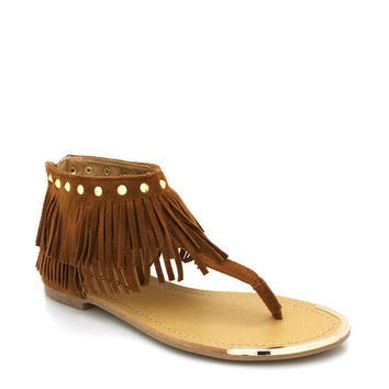 spiked-fringe-sandals BROWN CORAL MINT - GoJane.com
