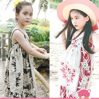 2 colors Summer Girls' Baby Floral Printing Beach Dress Children's Floral Suspenders Dresses Kids' Cool Sundress