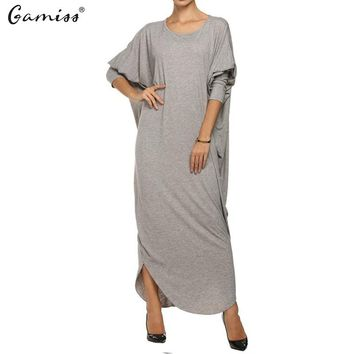 New Arrival Women Autumn Gray Dresses Fashion Batwing Sleeve High Quality Jersey Loose Maxi Woman Long Dress