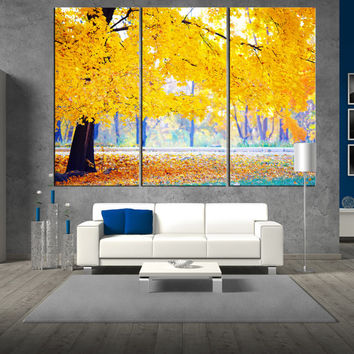 Automn forest wall art canvas, nature canvas art, large wall art canvas print, 3 panel canvas print for large wall ,naturel wall art t389