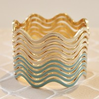 Wave Stack Bangle Set in Mint and Cream