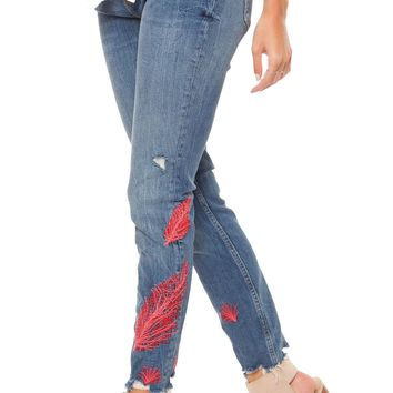 Pink Feather Embroidered Jeans by Dex