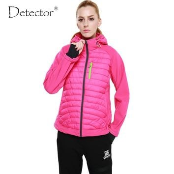 Detector Women Winter Sport Softshell Jacket Outdoor Windproof Waterproof Hiking Jacket Camping Warm Clothes