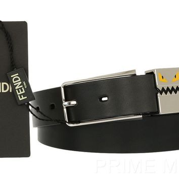 NEW FENDI BAG BUGS MONSTER DETAIL BLACK SMOOTH LEATHER BUCKLE BELT