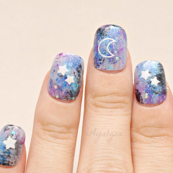 Pastel goth, fake nails, Kawaii nails, galaxy, celestial, moon light, stars, milky way, Japanese nail art