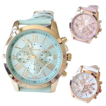 Men's Women's Fashion Geneva Roman Numerals Faux Leather Analog Quartz Wrist Watch = 1956374532
