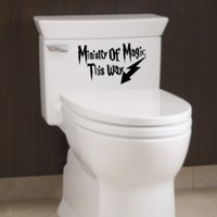 Ministry of Magic Decal Bathroom Quote Humor Toilet Funny Vinyl Sticker (Free glowindark switchplate decal)