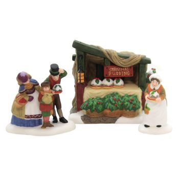 Department 56 Accessory CHRISTMAS PUDDING COSTERMONGER Dickens Village Retired Set/3 58408