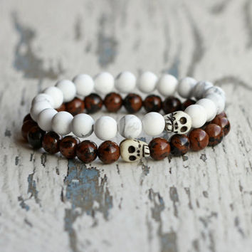 skull couple set friendship bracelets gay couples gift ideas boyfriend, men bracelets, his and hers jewelry, matching bracelet goth her him